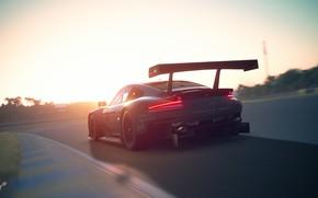 Картинка Закат, Авто, 911, Porsche, Машина, Трасса, RSR, Gran Turismo, Game Art, Porsche 911 RSR, Transport …