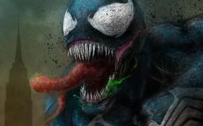 Картинка язык, арт, Веном, Venom, симбиот, зелёная слизь