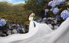 Картинка лето, девушка, цветы, горы, природа, поза, дерево, белое, листва, сад, пояс, ткань, азиатка, невеста, зеленые …