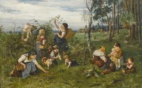 Картинка 1876, German painter, немецкий живописец, oil on canvas, Юлиус Антон Адам, Julius Anton Adam, Kinder …