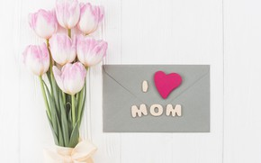 Картинка букет, тюльпаны, конверт, поздравления, День Матери
