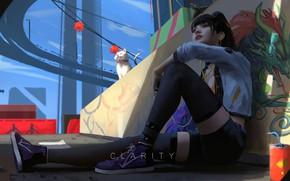 Картинка girl, fantasy, graffiti, legs, cat, dragon, brunette, artist, digital art, artwork, fantasy art, urban, sitting, …