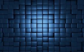 Картинка синий, кубы, блеск, формы, рендер, cube, deep blue