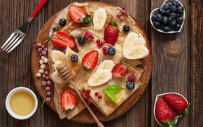 Картинка ягоды, завтрак, мед, блины, разделочная доска