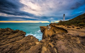 Картинка скалы, побережье, маяк, Новая Зеландия