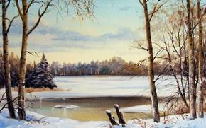 Картинка небо, деревья, пейзаж, река, масло, картина, живопись, холст, Александр Леднев, Зимняя река