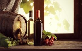 Картинка листья, вино, окно, виноград, пробка, бутылки, подоконник, штопор, шторка, бочонок