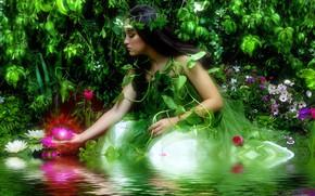 Картинка вода, девушка, цветы, озеро, фотошоп, рябь, фотоарт