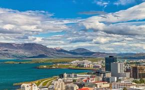 Картинка дорога, небо, горы, город, дома, Исландия, Рейкьявик, небомкребы