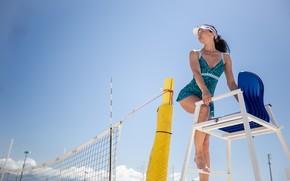 Картинка девушка, сетка, пляжный волейбол, Сергей Найбич