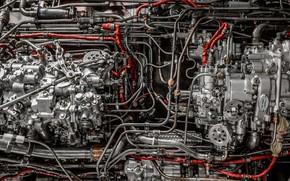 Картинка двигатель, трубочки, шланги, агрегат, карбюратор
