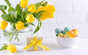 Картинка праздник, подарок, Пасха, тюльпаны, ваза, композиция, egg