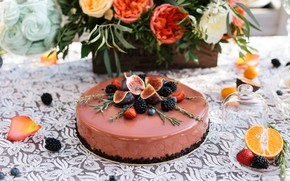 Картинка цветы, ягоды, торт, инжир