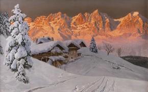 Картинка Alois Arnegger, Austrian painter, австрийский живописец, oil on canvas, Алоис Арнеггер, Вечернее зимнее настроение перед …