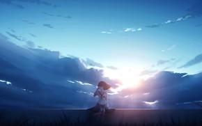 Картинка небо, девушка, солнце
