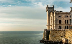 Картинка море, замок, Италия, Триест