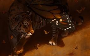 Картинка бабочки, тигр, крылья, by Pixxus