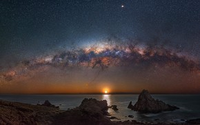 Картинка море, звезды, закат, скалы, Млечный путь, сумерки, звездное небо