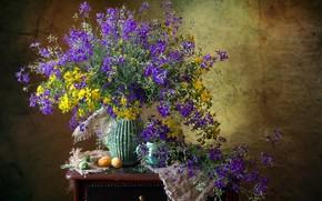 Картинка лето, полевые цветы, абрикосы