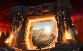 Картинка Portal, Fantasy, Альянс, Warcraft, Blizzard, Портал, Рыцарь, Magic, Warcraft 3, Fan Art, Knight, Battle, Game …