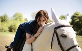 Картинка взгляд, девушка, конь, лошадь, Алина Колесникова