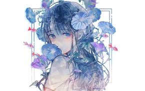 Картинка рыбки, лицо, белый фон, школьница, голубые глаза, голубые волосы, челка, голубые цветы, вьюнок, матроска, вполоборота