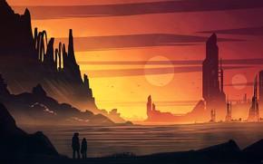 Картинка горы, люди, сооружения, водоём, Martian Colony