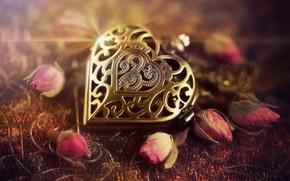 Картинка сердце, медальон, бутоны