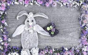 Картинка цветы, праздник, игрушка, яйца, весна, кролик, пасха