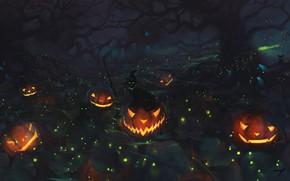 Картинка Halloween, forest, cat, holiday, digital art, artwork, pumpkins, fantasy art, black cat, witch hat, Jack …