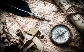 Картинка перо, карта, компас, compass, old maps, навигационный прибор, nautical navigation tools
