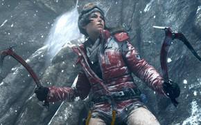 Картинка Девушка, Снег, Очки, Куртка, Square Enix, Game, Lara Croft, Crystal Dynamics, Rise of the Tomb …