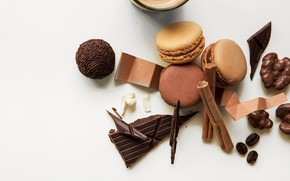 Обои кофе, шоколад, десерт, chocolate, macaroons
