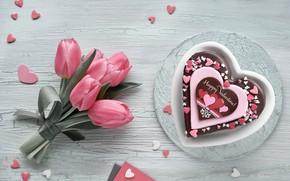 Картинка шоколад, букет, тюльпаны, сердечко, десерт, Anya Ivanova