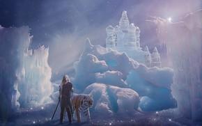 Картинка девушка, снег, тигр, замок, фотошоп, меч, фотоарт, ледяной замок