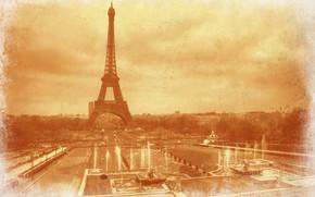 Картинка ретро, Франция, Париж, Эйфелева башня