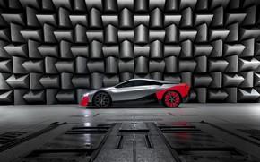Картинка купе, BMW, в профиль, 2019, на фоне стены, Vision M NEXT Concept
