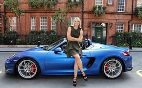 Обои авто, взгляд, улыбка, Девушки, Porsche, Мария Шарапова, Maria Sharapova, красивая девушка