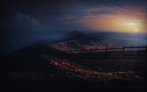 Картинка горы, ночь, темный фон, обработка, фотоарт
