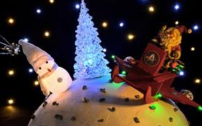 Картинка зима, свет, ночь, огни, сияние, темный фон, праздник, игрушка, игрушки, блеск, шар, шарик, Рождество, Новый …