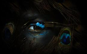 Картинка глаз, человек, перья