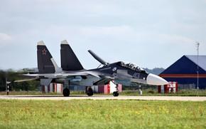 Картинка аэродром, многоцелевой истребитель, ОКБ Сухого, Flanker-C, поколения 4+, Су-30СМ, Su-30SM