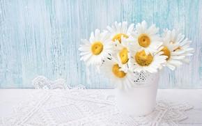 Картинка цветы, ромашки, букет, кашпо