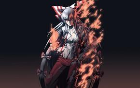 Картинка тьма, огонь, пламя, ведьма, красные глаза, безумие, рваная одежда, Touhou Project, черная магия, Fujiwara no …