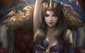 Обои взгляд, девушка, поза, птица, кресло, корона, фэнтези, арт, ворон, трон