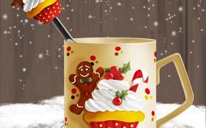 Картинка рисунок, ложка, чашка, Новый год, Christmas, New Year