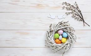 Картинка праздник, яйца, пасха, гнездо, верба