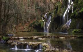 Картинка пейзаж, природа, водопад, красота, склон