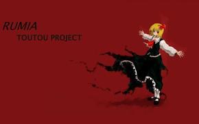 Картинка жертва, черное платье, распятие, Rumia, проект Восток, touhou project, кровавый фон, by Oso