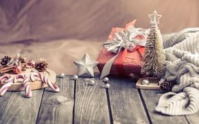 Картинка украшения, lights, елка, Рождество, Новый год, christmas, wood, винтаж, bokeh, decoration